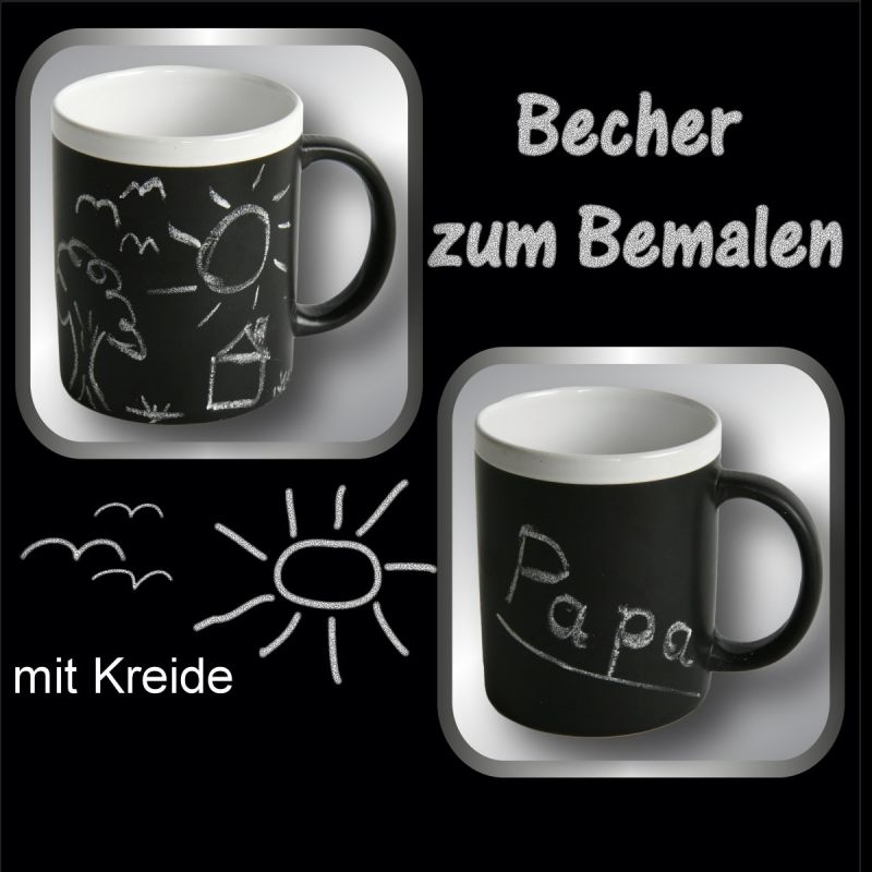 2 st ck kaffeebecher zum beschriften inkl kreide tasse tassen kaffeetassen ebay. Black Bedroom Furniture Sets. Home Design Ideas