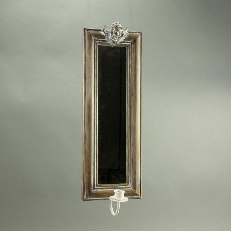 spiegel mit kerzenhalter holz h 49 cm wandspiegel. Black Bedroom Furniture Sets. Home Design Ideas