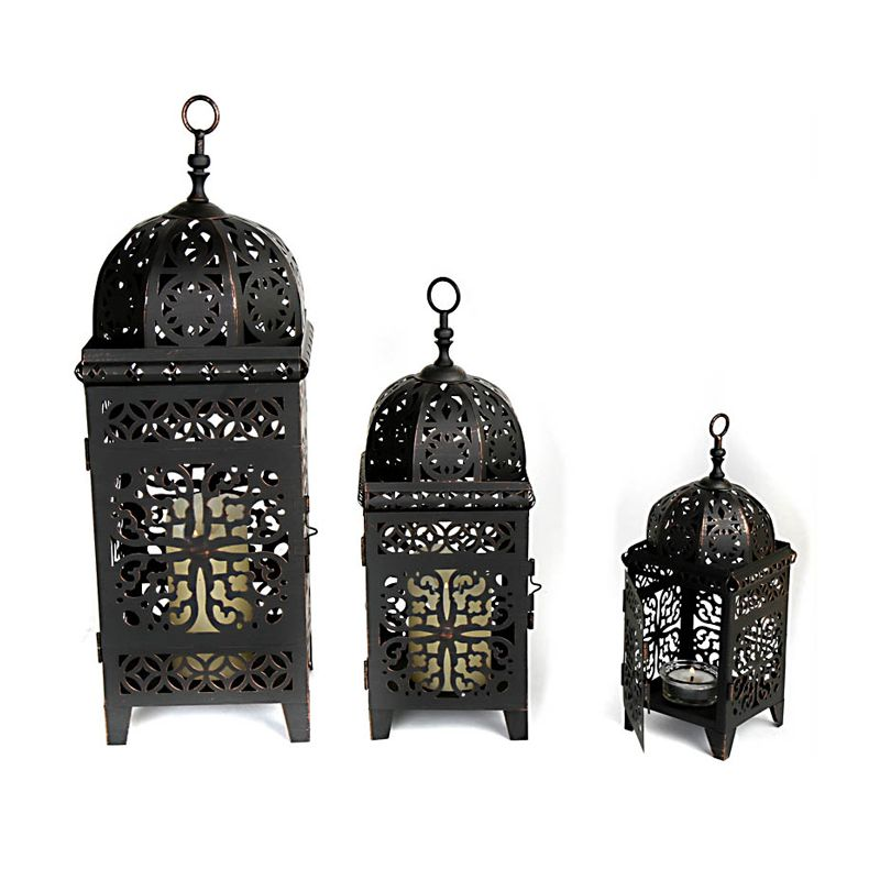 orientalische laternen 3er set schwarz laterne windlicht windlichter laterne ebay. Black Bedroom Furniture Sets. Home Design Ideas