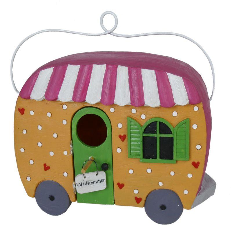 vogelhaus wohnwagen frostfest vogelh uschen nistkasten nisthaus futterhaus ebay. Black Bedroom Furniture Sets. Home Design Ideas