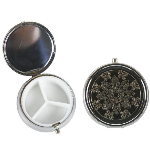 4 x Pillendosen aus Eisen mit Kunststoffeinsatz Ø 5 cm