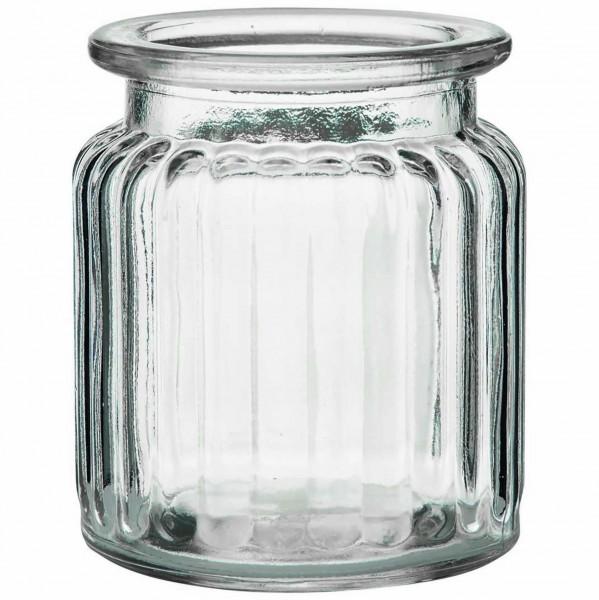 12 x Windlichter aus Glas geriffelt H 9 cm