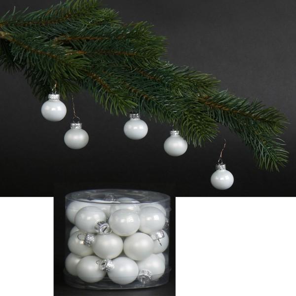 24 Stück Glaskugeln - Baumschmuck winterweiß Ø 2,5 cm