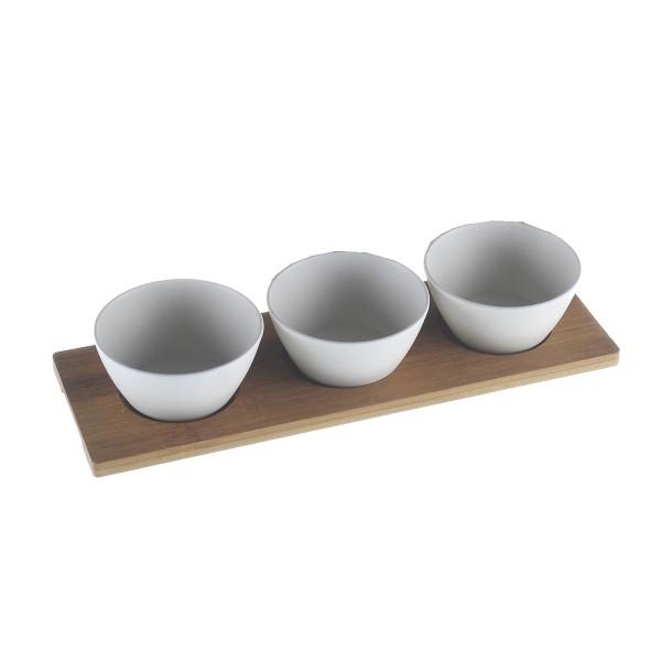 Dip-Schälchen 3-tlg. Set auf Bambusplatte