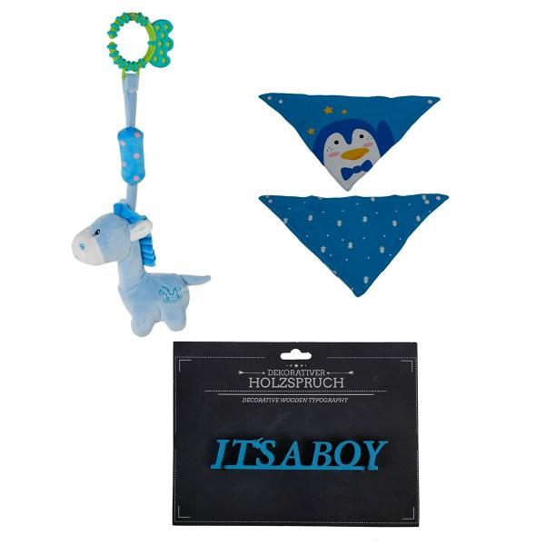 3-tlg. Geschenkset Baby - Beißring Plüschpferd + Lätzchen Pinguin + Holzschrift It's a boy