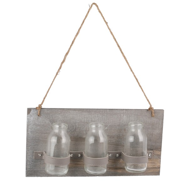 Holzbrett zum Hängen mit Glasfläschchen im Landhausstil, L 30 cm