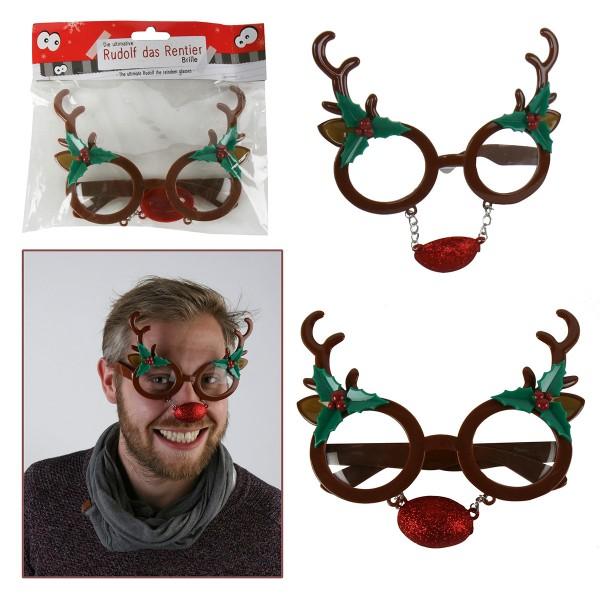 6 x Rentier Rudolf - Gagbrille Weihnachtsbrille