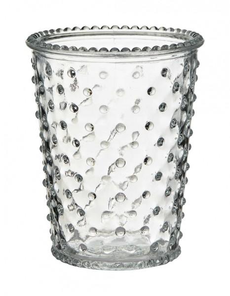 Windlichter mit Glasnoppen 12 Stück H 12,5 cm