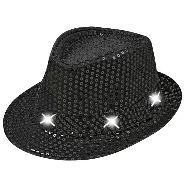 Hut mit Pailetten und weißen LEDs, schwarz