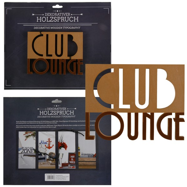 Holzschrift 3D Club Lounge Doppelreihig 16,3 cm
