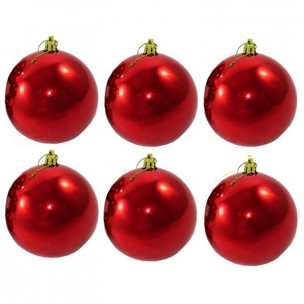 6-tlg Set XXL Weihnachtskugeln für Draußen inkl. Beutel Ø 12