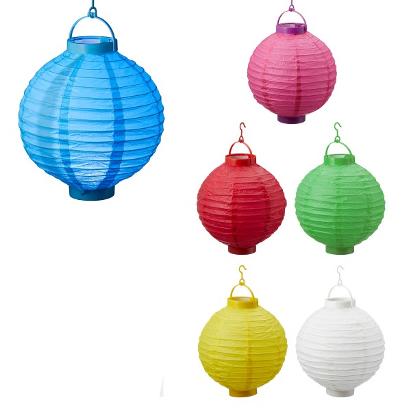 12 x Lampions aus Papier mit LED-Licht zum Hängen Ø 20 cm, batteriebetrieben