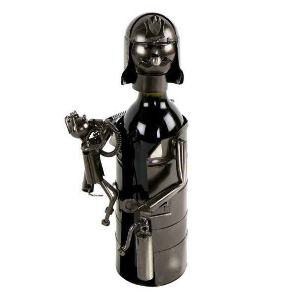 Flaschenhalter Feuerwehrmann aus Eisen H 40 cm