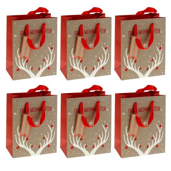 6 x Geschenktüten mit Geweih oder Hirschen H 23 cm