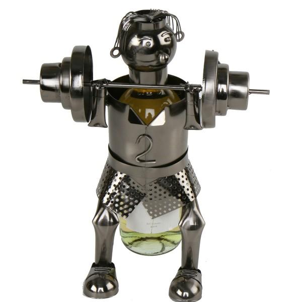 """Flaschenhalter """"Gewichtheber"""" aus Eisen, H 48 cm"""