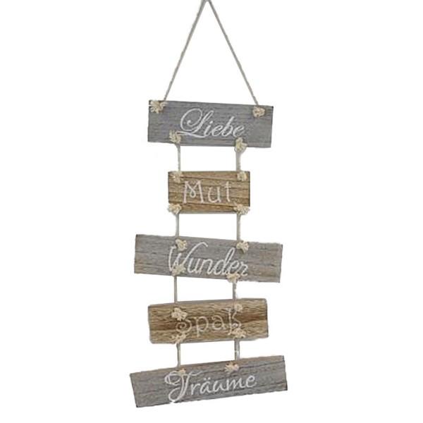 """Holzschilder zum Hängen """"Liebe, Mut, Wunder, Spaß, Träume"""""""