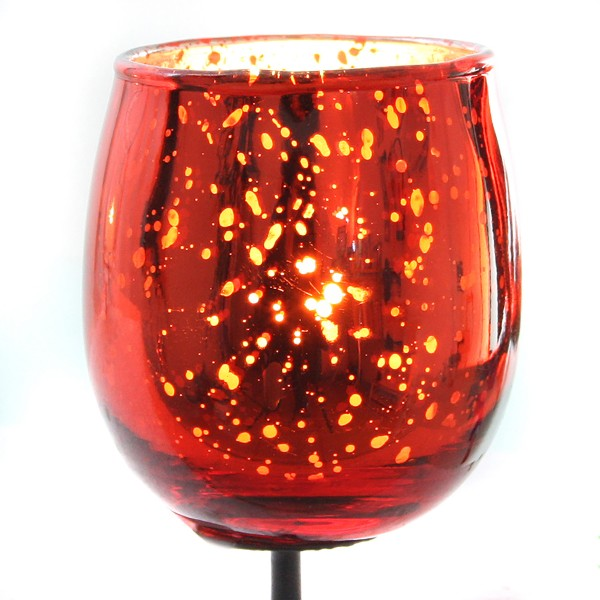 Teelichtgläser für Gestecke mit Metallpick 4-tlg. Set, rot