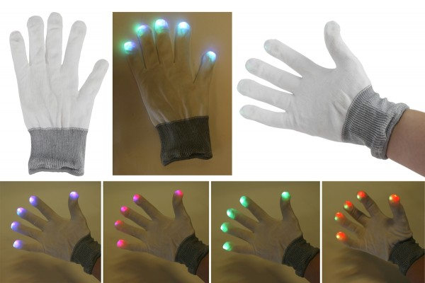 """Handschuhe mit LED weiss """"klein"""" mit Farbwechsler"""