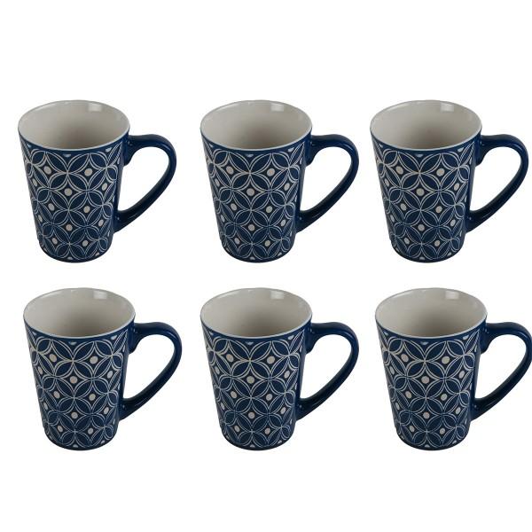 Tassen mit Ornamenten 6-tlg. Set, blau