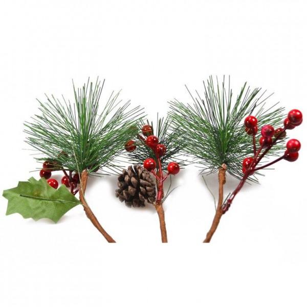 12 x Tannenzweige für weihnachtliche Dekorationen