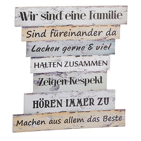 Collage Lebenseinstellung und Familienregeln, Wanddeko aus Holz
