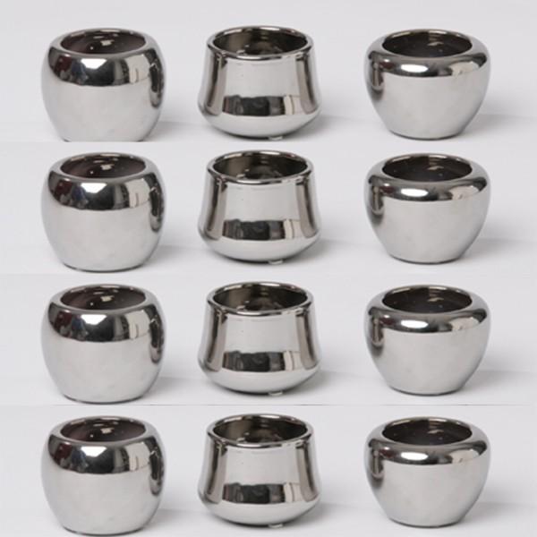 Keramiktopf mini 12 Stück - H 7,0 cm silberfarben