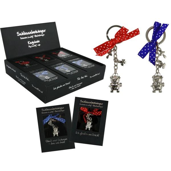Schlüsselanhänger SCHWEIN LUCKY, 12er Display