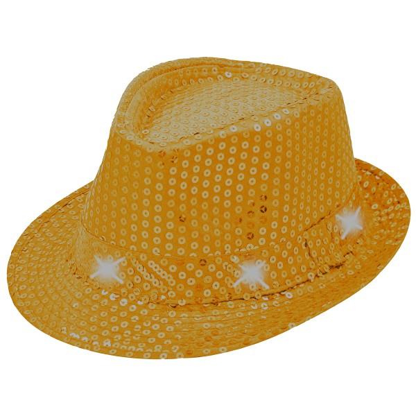 Hut mit Pailetten und weißen LEDs, orange