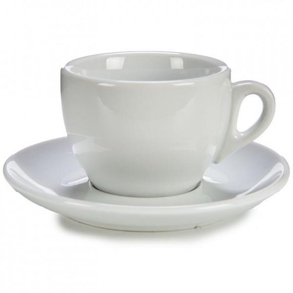 6-tlg. Set Kaffeetassen aus weißem Porzellan 200 ml