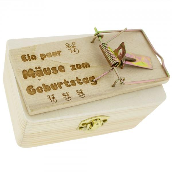 """Geldgeschenk """"Mäusefalle mit Gravur"""" auf Holzbox 10 x 5,5 cm"""