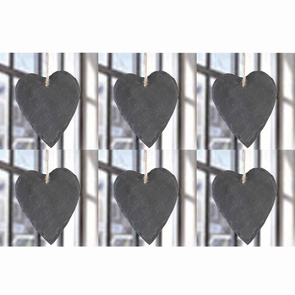 Herzen aus Schiefer zum Hängen, 6-tlg. Set - H 14 cm
