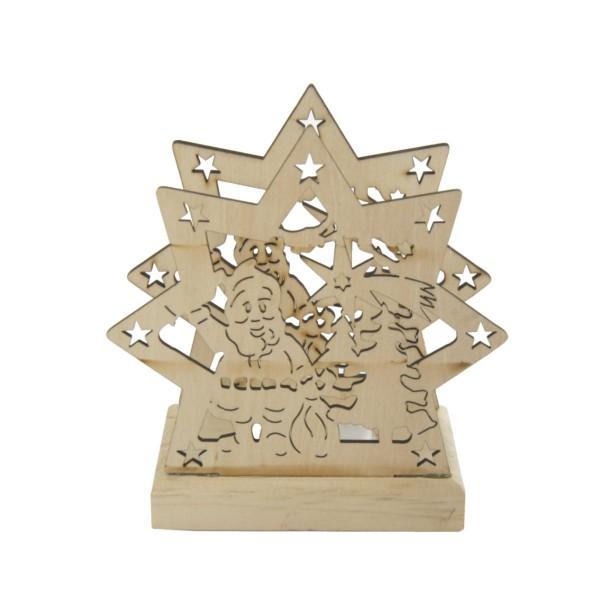Teelichthalter aus Holz incl. LED-Teelicht, Nikolaus im Stern
