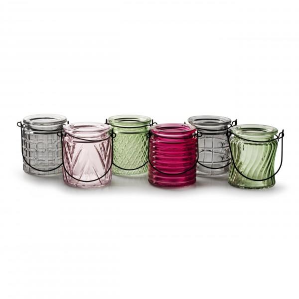 12 x Windlichter oder Vasen aus Glas mit Henkel 9 x 8 cm