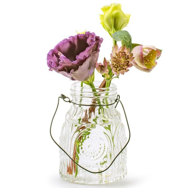 6 x Vase oder Windlichter mit hübscher Glasmusterung und Henkel