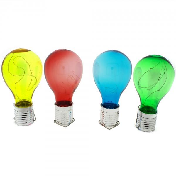 4 x Solarlampe Glühbirne zum Hängen in 4 Farben mit je 4 LED´s H 14,5 cm
