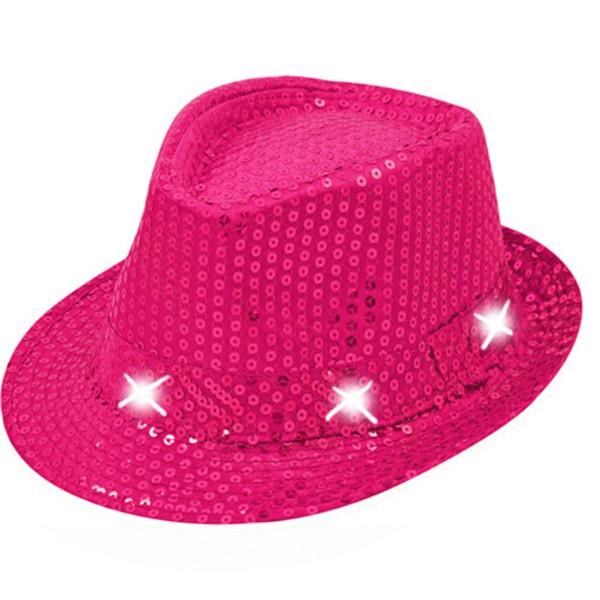 Hut mit Pailletten und LEDs, pink