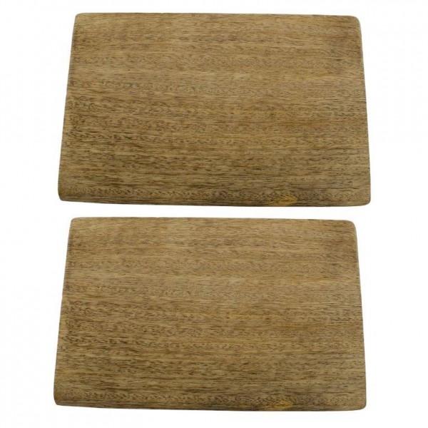 2-tlg. Set Brotzeitbrettchen aus Mangoholz 22 x 14 cm