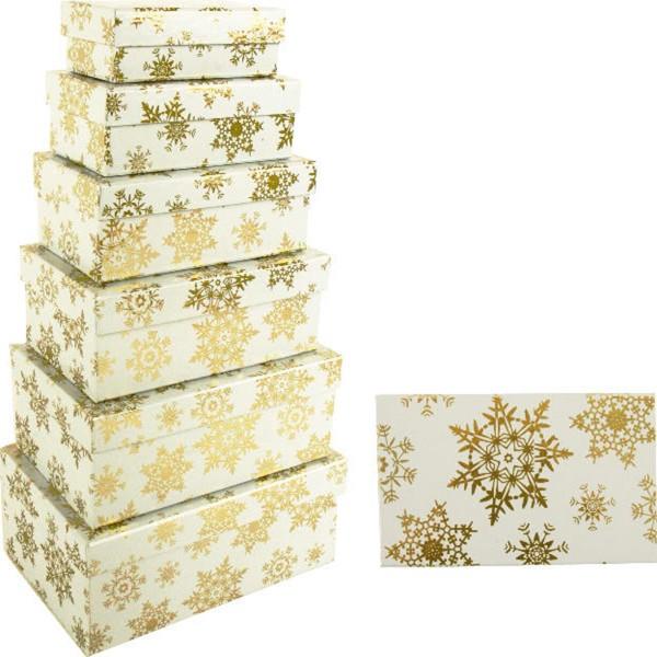6-tlg. Set Geschenkboxen mit goldfarbenen Schneeflocken