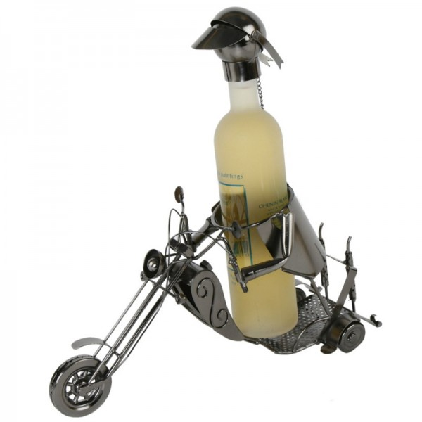 "Flaschenhalter ""Motorradfahrer"" L 37 cm, Metall"