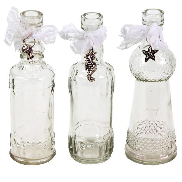 12 Stück Glasflaschen mit Anhänger H 16 cm