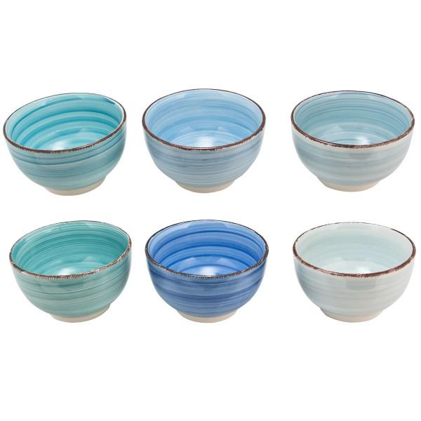 6 x Servierschalen-Set aus Keramik Müslischalen BLUE AZUL Ø 14 cm