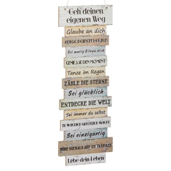 Lebensweisheiten auf Holz zum Hängern 14,5 x 41 cm
