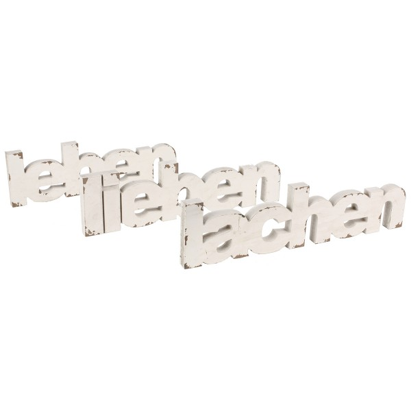 3-tlg.Set Schriftzug LIEBEN-LEBEN-LACHEN aus Holz L 35 - 39 cm