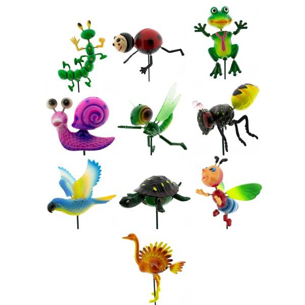10 x Gartentiere auf Stick L 50 cm