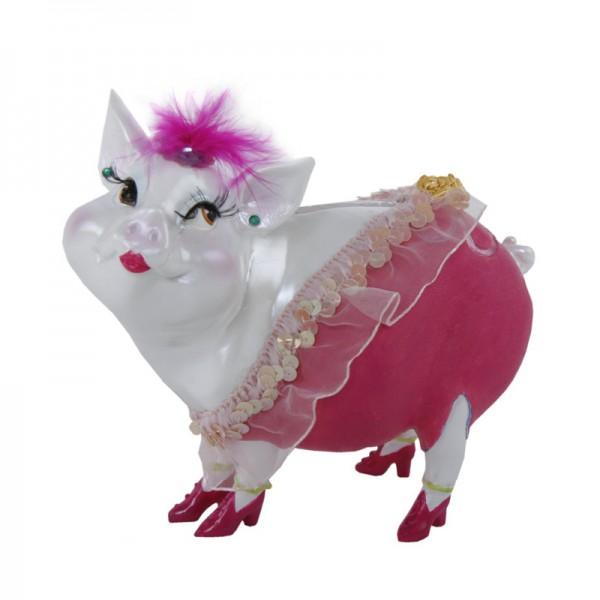 """Sparschwein """"Lady Piggy"""" rot mit Spitze, 17 cm"""