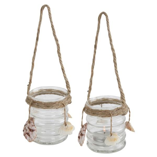 12 x Glas klar geriffelt mit Kordel und Muscheln Urban Seaside