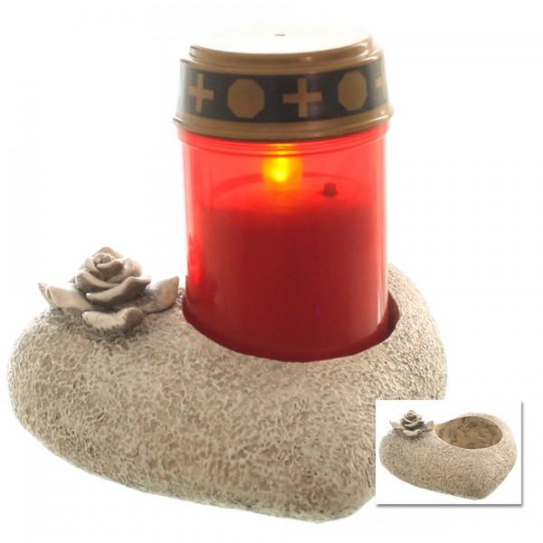 Grablichthalter in Herzform für Grablicht 15 x 15 cm