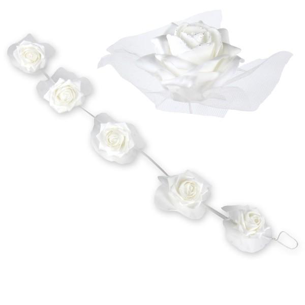 Rosengirlande mit 5 großen Rosen weiss 100 cm