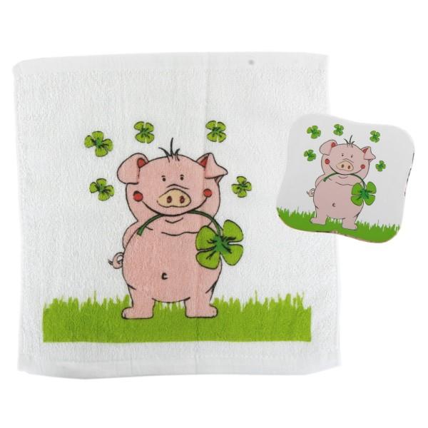 """Magisches Handtuch """"Schwein LUCKY"""", 36er Display"""
