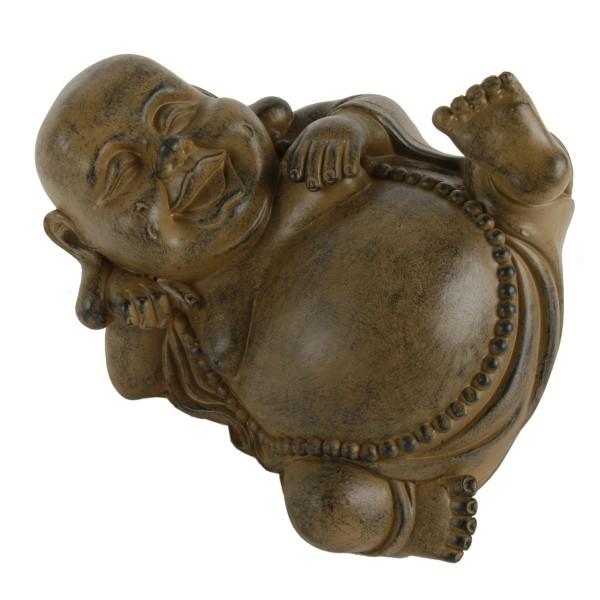 """Buddha """"lachend und liegend"""", braun L 23 cm"""